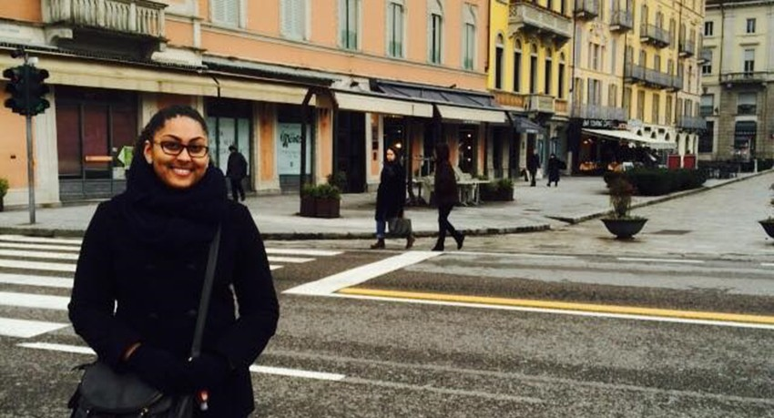 Worcester State University student Jasmin Correa in Italy