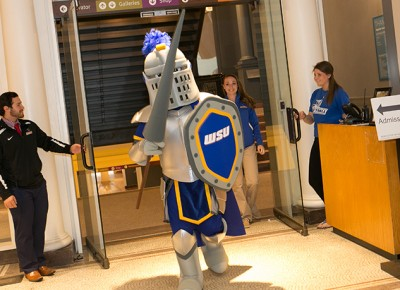 Worcester State University's new mascot, Clandler H. Lancer, is unveiled.