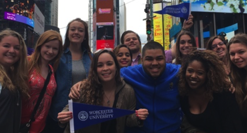 "11 Worcester State University students attend performance of ""Don Quixote"" in New York City to commemorate the 400th anniversary of Miguel de Cervantes's death."