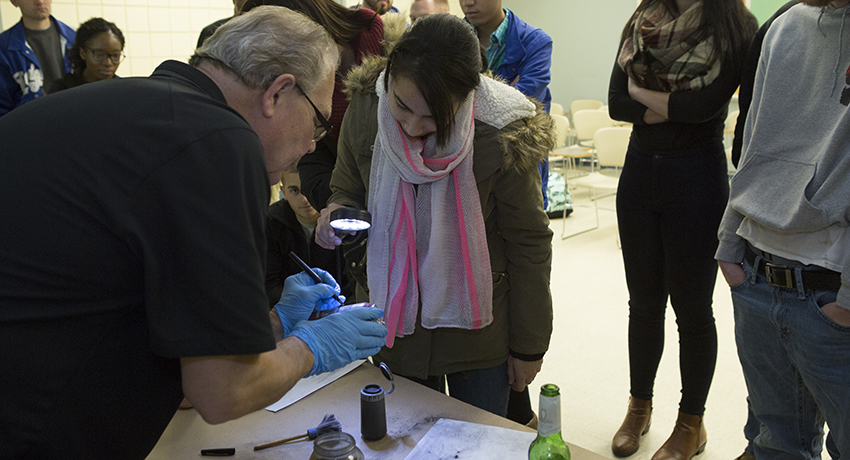 Worcester Police Department leads crime scene investigation for criminal justice students.