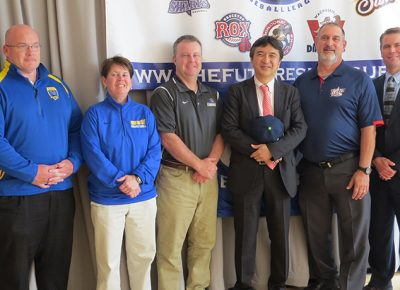 Worcester State University Athletics officials with deputy consul general of Japan