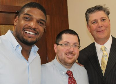 Michael Sam speaks about LGBTQ life story at Worcester State University.