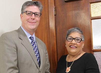 Worcester State President Barry Maloney with Rev. Sharon Washington Risher