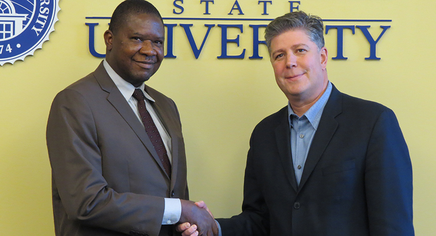 Vice Chancellor of Edo University Emmanuel Aluyor and Worcester State President Barry Maloney