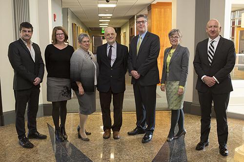 Worcester State administrators with Universidade Beira Interior Reitor Antonio Fidalgo