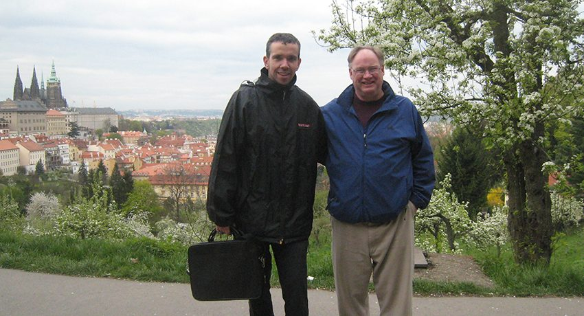 Worcester State' Bill O'Brien with Czech University's Petr Prochazka