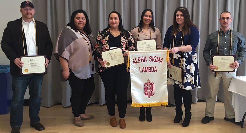 new members of Alpha Sigma Lambda honor society