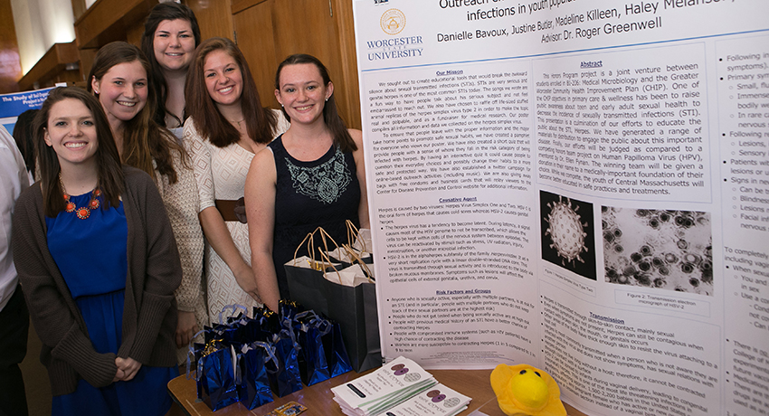 Danielle Bavoux and fellow students at Celebration of Scholarship and Creativity in 2015
