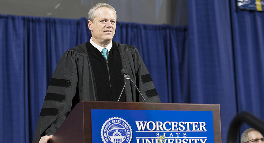 Governor Baker Shares Five Life Tips with Worcester State Graduates