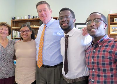 Worcester State students who presented study results to the city manager