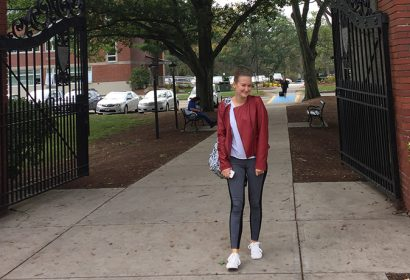 Kiara Celaj, an international student at Worcester State