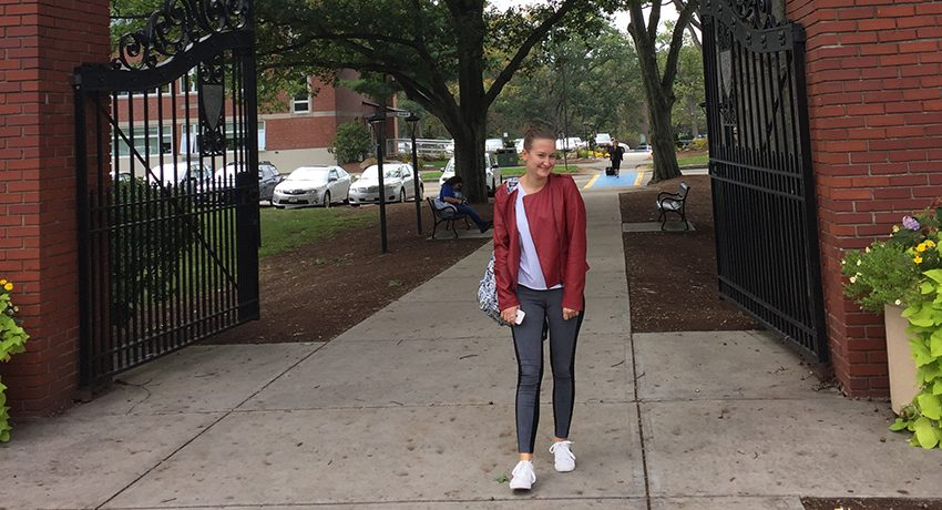 Kiara Celaj, an international student at Worcester State