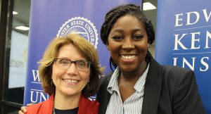 Nana Darkwa, '19, WSU's first student ambassador to EMK with Mary Grant, EMK president