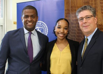 Bakari Sellers with Jess Evora, assistant director of student involvement and leadership development, and president Barry Maloney