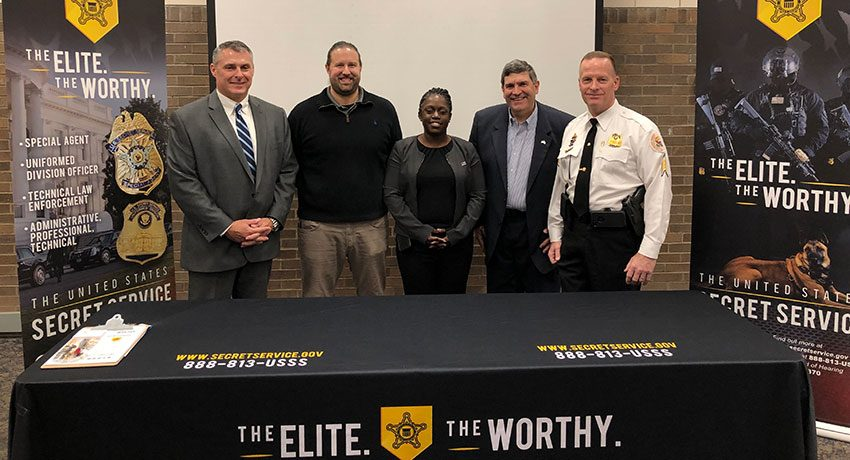 Members of the Secret Service USSS Career Team, Dr. Francis Olive III, Dr. Stephen Morreale