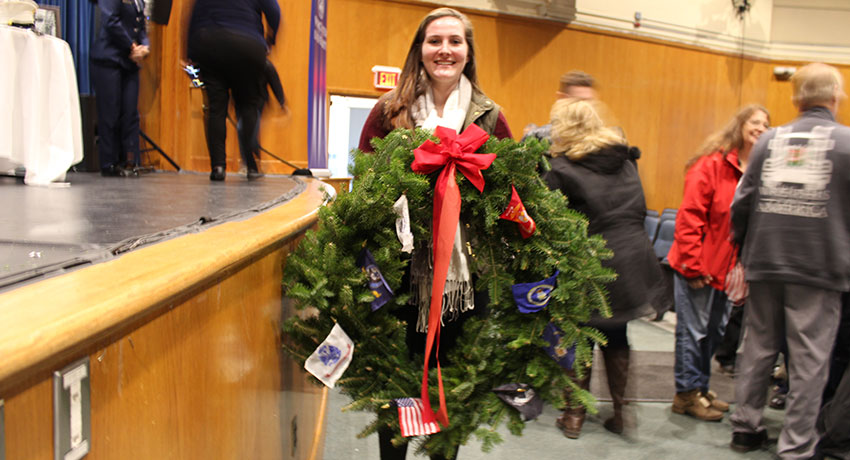 Wreaths Across America Convoy Stops at Worcester State