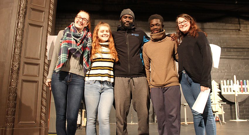 DAR/history project rehearsal, Fuller Theater. From left: Libbey Stearns, '21; Julia Joyce, '20; Kingsley Anim-Addo, '20; Nana Marfo, '20; and Katie McGown, grad student.