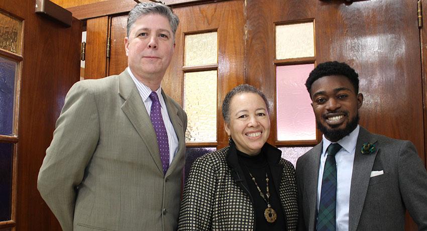 WSU President Barry Maloney, Dr. Beverly Daniel Tatum, Student Trustee Manasseh Konadu