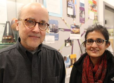"""Associate Professor Francisco """"Frank"""" Lamelas, Ph.D., and Professor Sudha Swaminathan, Ph.D., of the Earth, Environment, and Physics Department"""