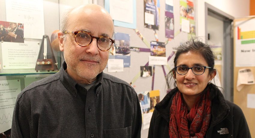 "Associate Professor Francisco ""Frank"" Lamelas, Ph.D., and Professor Sudha Swaminathan, Ph.D., of the Earth, Environment, and Physics Department"
