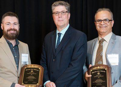 Alden Teaching Award winners with president Maloney 2019