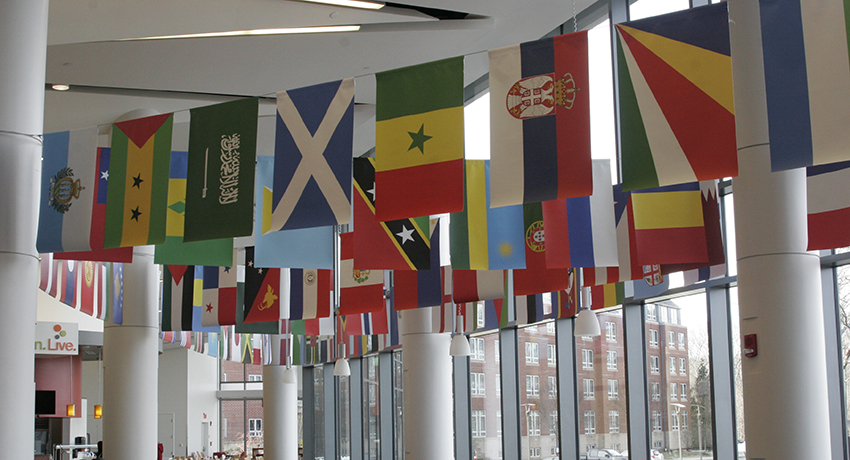Flags in Sheehan Hall