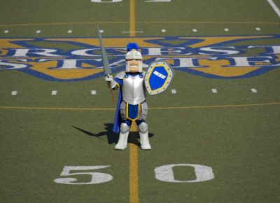 Chandler the Mascot on the 50 yard line